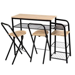 Table de Bar et ses 2 Tabourets - Noir et Beige - H. 88,5 cm
