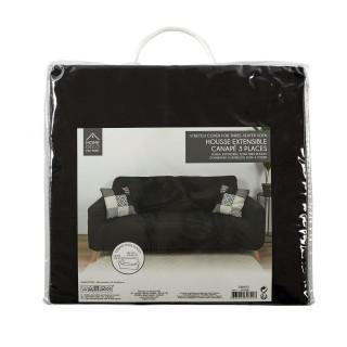 Housse extensible pour canapé 3 places - Noir - 230 x 85 cm