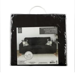 Housse extensible pour canapé 2 places - Noir - 170 x 80 cm