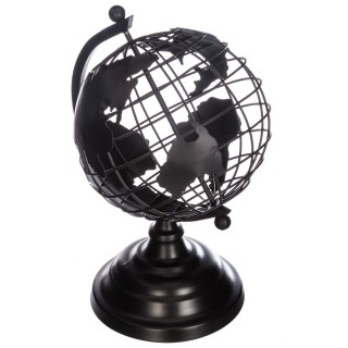 Globe terrestre en métal - Noir - H. 28 cm