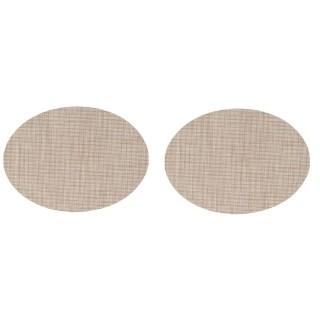 Lot de 2 Sets de table oval effet tissé - 45 x 35 cm - Marron/Beige