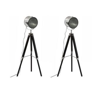 Lot de 2 Lampadaires bois et métal Ebor - Hauteur 150 cm - Noir