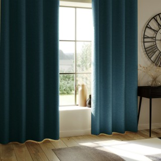 Rideau de salon occultant 8 œillet - 140 x 260 cm - Bleu Canard