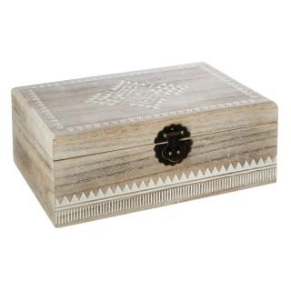 Boîte à bijoux en bois blanchi - Modèle Etnik
