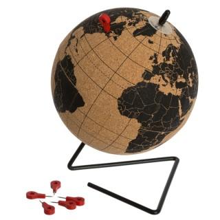 Globe Terrestre en liège à poser modèle Collect - Noir et beige - Diam. 15 cm