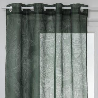Voilage Dévo à imprimé feuille - 140 x 240 cm - Vert