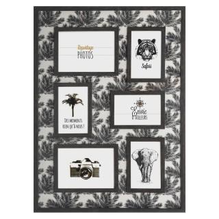 Pêle-mêle 6 photos en relief imprimé Palmier Noir et Blanc- 46 x 62 cm