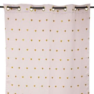Rideau occultant pour chambre d'enfant rose à cœurs doré - 140 x 260 cm