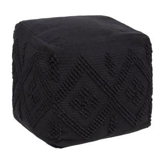 Pouf cube en tissu Noir modèle Safari - 45 x 45 cm