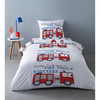 Parure de lit enfant design camion Freddy - 100% Coton - 140 x 200 cm - Blanc