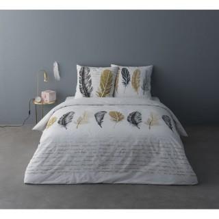 Parure de lit ethnique Jude - 100% coton percale - 240 x 220 cm - Blanc