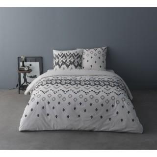 Parure de lit ethnique Henri - 100% coton percale - 240 x 220 cm - Blanc
