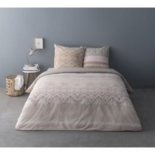 Parure de lit ethnique Savin - 100% coton percale - 240 x 220 cm - Beige