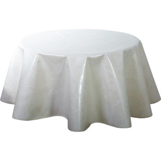 Nappe ronde en toile cirée  design Lina - Diam. 150 cm - Blanc