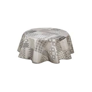 Nappe ronde en toile cirée design Idaly - Diam. 150 cm - Gris