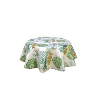 Nappe ronde en toile cirée tropicale Palmier - Diam. 150 cm - Blanc