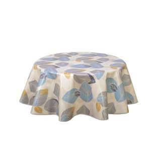 Nappe ronde en toile cirée design Anthurium - Diam. 150 cm - Bleu