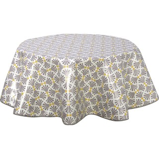 Nappe ronde en toile cirée design Bore - Diam. 150 cm - Gris