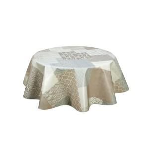 Nappe ronde en toile cirée  design Patchmode - Diam. 150 cm - Ecru