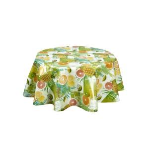 Nappe ronde en toile cirée  tropicale Caraibes - Diam. 135 cm - Vert