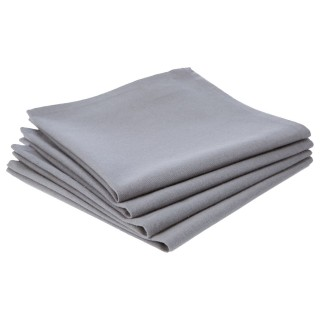 Lot 2x 4 Serviettes de table en coton - Gris Clair