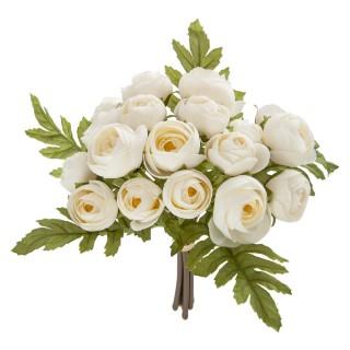 Lot 2x Bouquet artificiel de 18 Camélia - H. 30 cm - Blanc