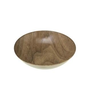 Lot 6x Assiette creuse design bois Mood - Diam. 20 cm - Marron