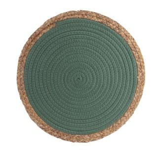 Lot 6x Set de table bord de mer Seagrass - Diam. 38 cm - Vert