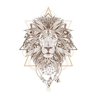 Lot 2x Sticker boho Lion - 70 x 50 cm - Blanc et marron