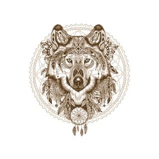 Lot 2x Sticker attrape rêves Loup - 70 x 50 cm - Blanc et marron