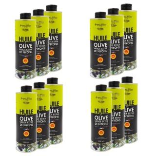 Lot 12x Huile d'olive de Nyons AOP - Georges Nivier - bidon 50cl