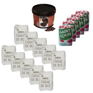 Farine blé T55 (10kg), sucre en poudre (5kg), chocolat de couverture noir 56% de cacao de couverture (2,5kg)