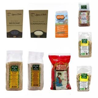 Assortiment de riz : basmati, long, noir, sushi, demi complet…