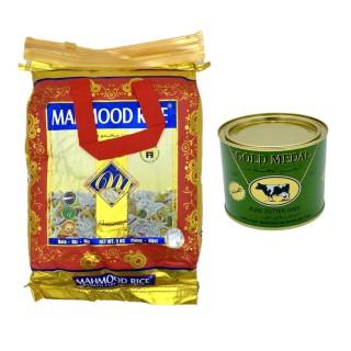 Riz basmati (5kg) Mahmood et beurre clarifié - ghee (400g) Gold Medal