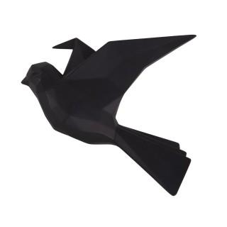 Oiseau mural mat Origami - Noir
