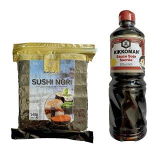 Feuilles sushis nori qualité Chef, sauce soja sucrée Kikkoman