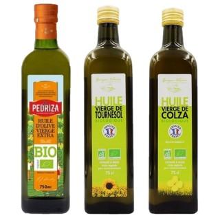 Assortiment d'huiles Bio : tournesol, colza, olive