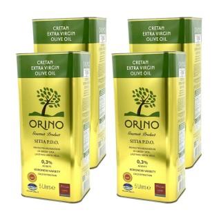 Lot 4x Huile d'olive crétoise extra vierge AOP - ORINO - bidon 5 litres