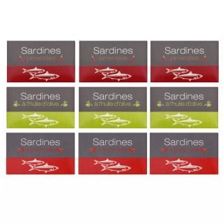 Assortiment de sardines : tomate, pimentée, à l'huille d'olive