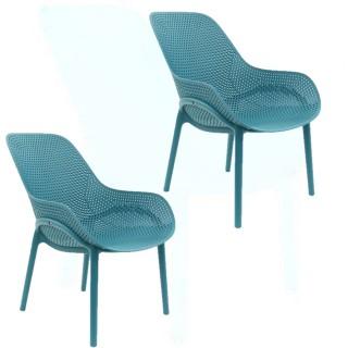 2 Fauteuils pour table de jardin design Malibu - Bleu