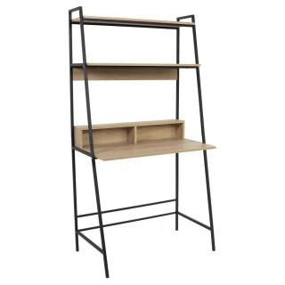 Bureau Zack double étagère - L. 81,50 x H. 160 cm. - Bois et Noir