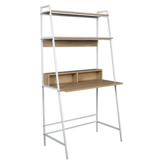 Bureau Zack double étagère - L. 81,50 x H. 160 cm. - Bois et Blanc