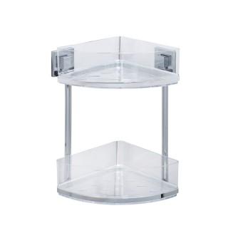 Etagère d'angle en acier inox Quadro 2 niveaux