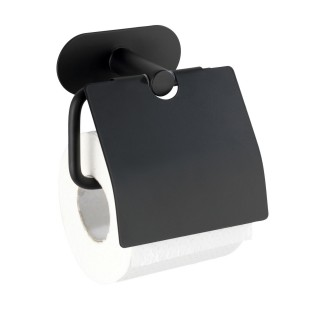 Dérouleur papier WC avec couvercle Orea en acier inox - Noir