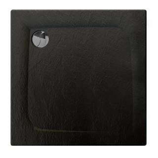 Receveur de douche carré effet pierre Mooneo - L. 80 x l. 80 cm - Noir