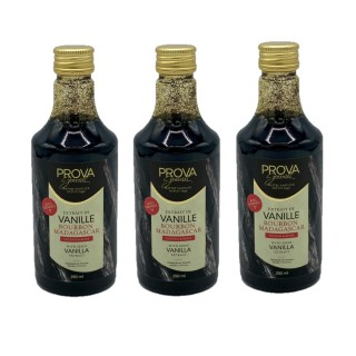 Lot 3x Extrait vanille Bourbon de Madagascar avec graines - Prova Gourmet - bouteille 250ml