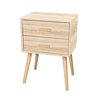 Table de Chevet 2 tiroirs EDWING - 45 x 35 x 60 cm - Marron - Rangement pour chambre à coucher, salon